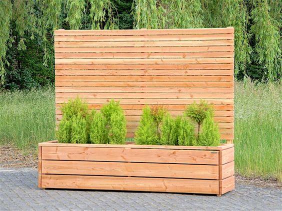 Sichtschutz mit Pflanzkübel / Blumenkasten Holz, Natur Geölt.