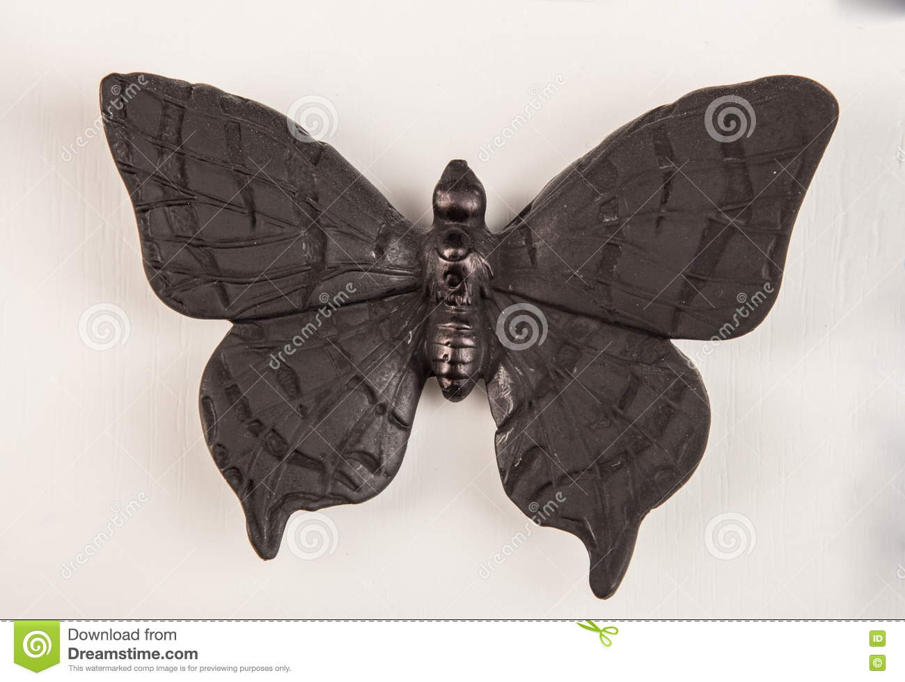 Plaster Relief Butterfly Stock Illustration.