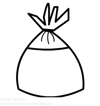 Plastic bag clipart black and white.