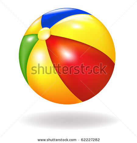 of a bright colorful beach ball in a vector clip art illustration.