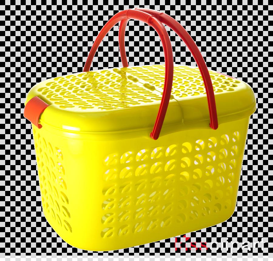 yellow lid picnic basket plastic basket clipart.