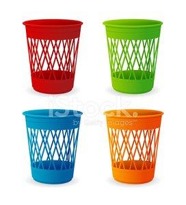 Vector plastic basket set, trash bins on white Clipart Image.