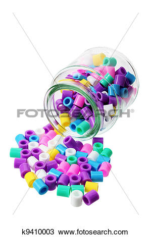 Stock Photo of Bottle with Plastic Beads k9410003.