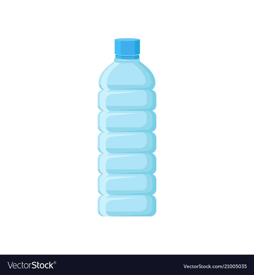 Empty plastic bottle with blue lid transparent.