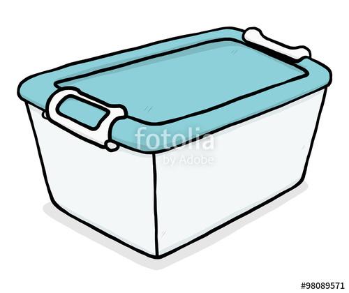 blue plastic box / cartoon vector and illustration, hand.