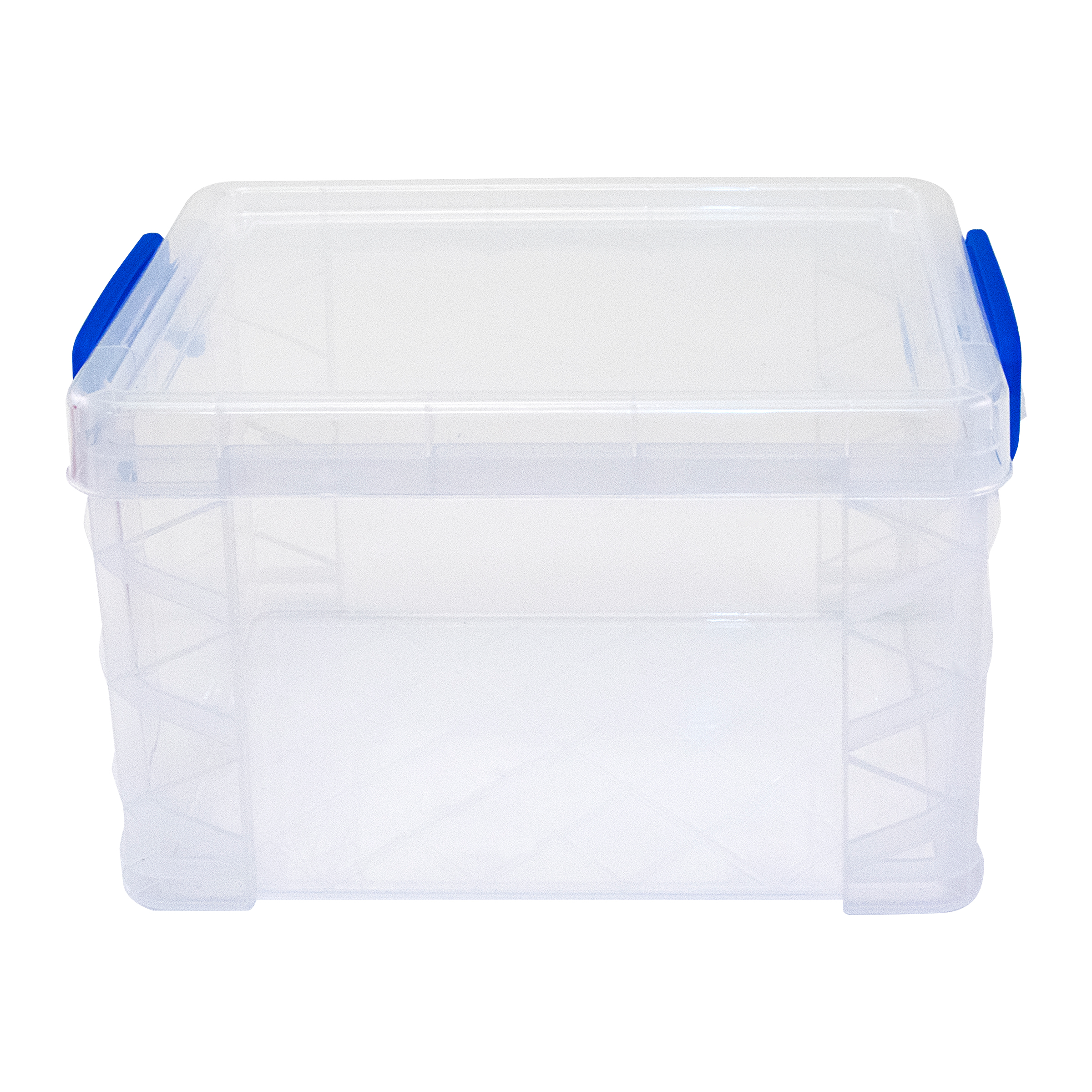Super Stacker® Storage Box, Clear with blue handles.