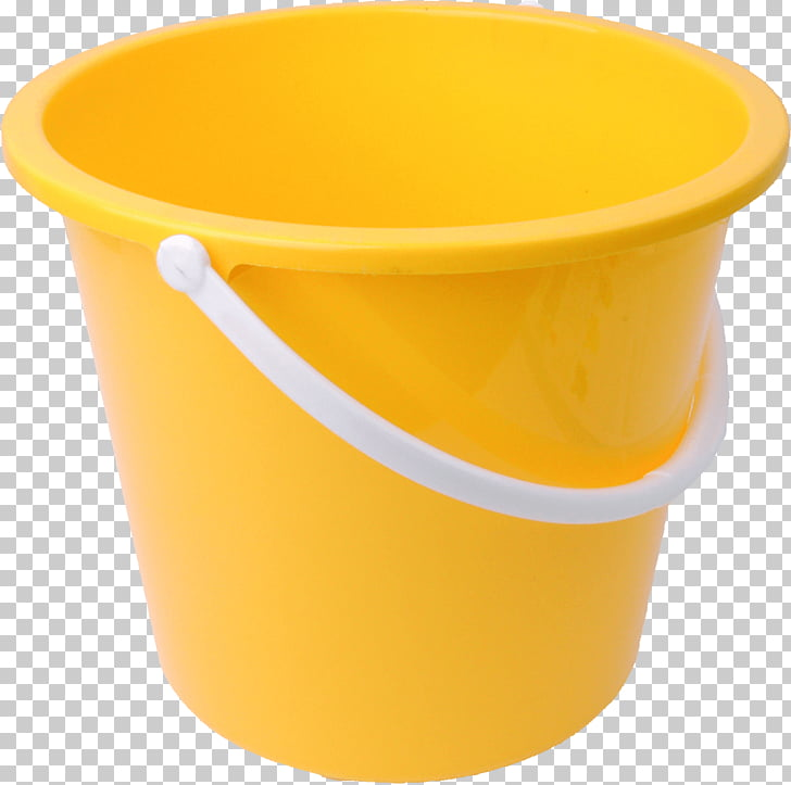 Yellow Bucket, yellow plastic bucket PNG clipart.