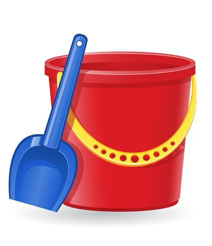 plastic bucket and shovel vector illustration.