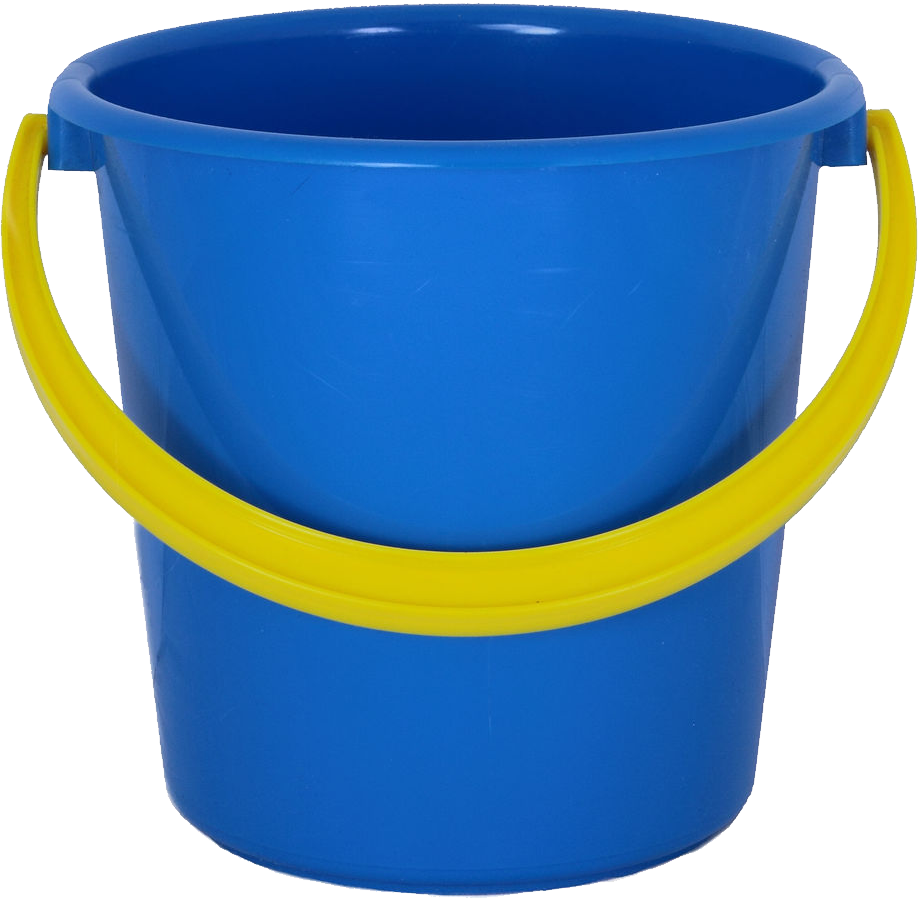 Blue PLastic Bucket PNG Image.