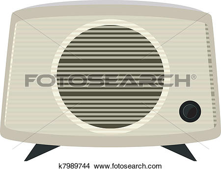 Clipart of Vector illustration of an old radio in a plastic case.