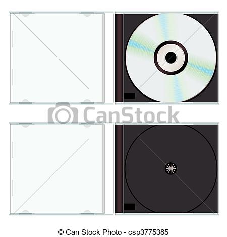 Clipart Vector of Music cd case empty.