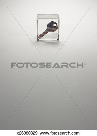 Stock Photograph of Key in plastic case x26380329.