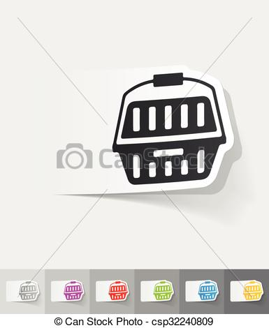 Vector Clipart of realistic design element. plastic case for pets.