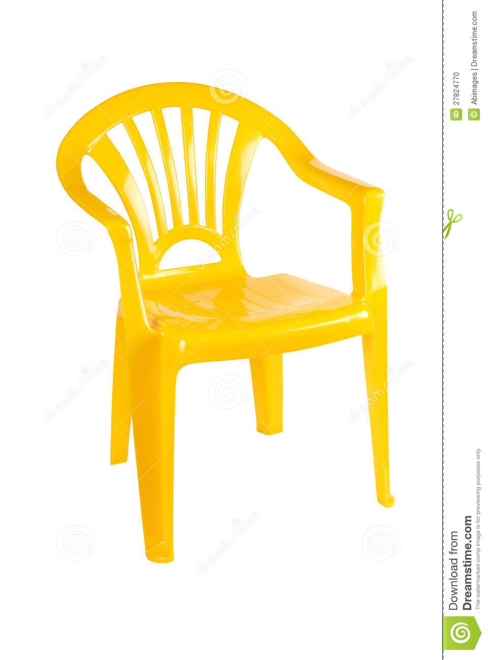 Yellow Plastic Chair Stock Photo.