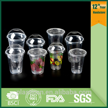 Pp Disposable Plastic Cup Drinking Cups/customized Printing Logo Milkshake  Plastic Cup With Lid.