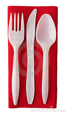 Plastic Cutlery On Red Paper Serviette Stock Photos.