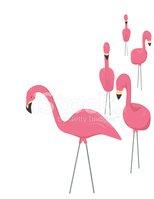 Plastic Flamingos Stock Vector.