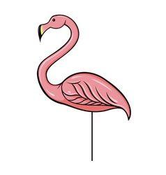 Pink plastic flamingo vector.