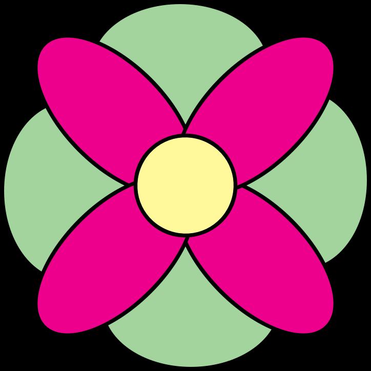 4 Petal Flower Clipart.