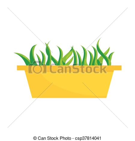 EPS Vector of Young sprout seedlings in plastic flower box icon.