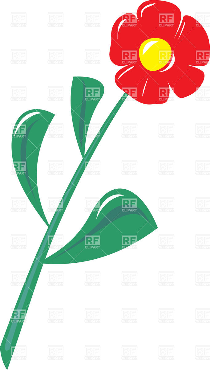 Cartoon red plastic flower Vector Image #33467.