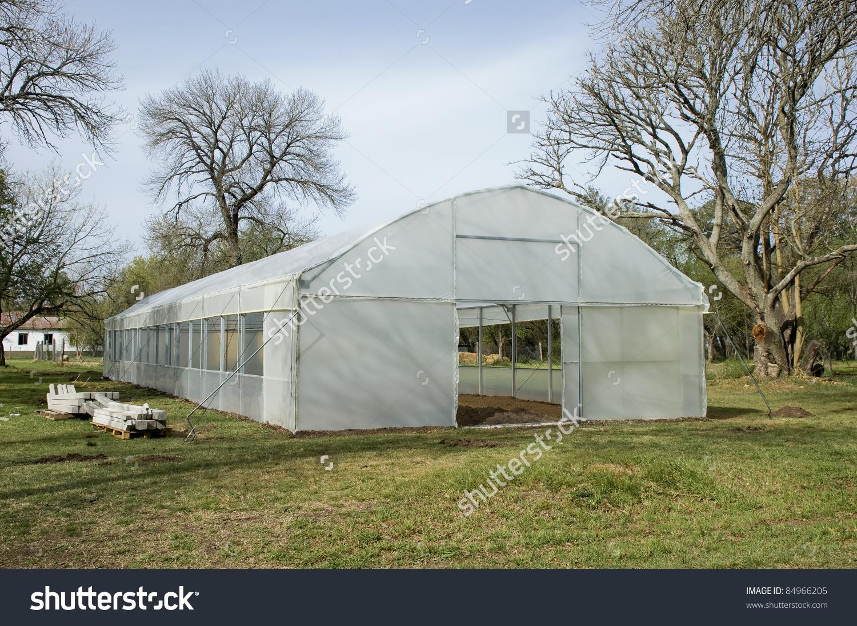 Plastic Greenhouse Plant Nursery Faculty Veterinary Stock Photo.