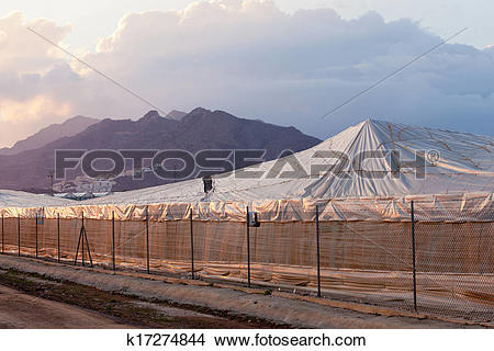 Stock Photo of Large scale industrial plastic greenhouse in Spain.