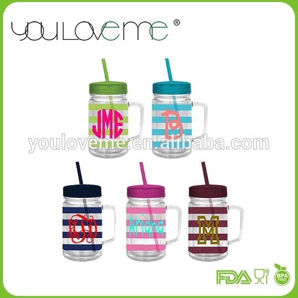As Double Wall Insulated Mason Jar Mug With Straw And Handle, As.
