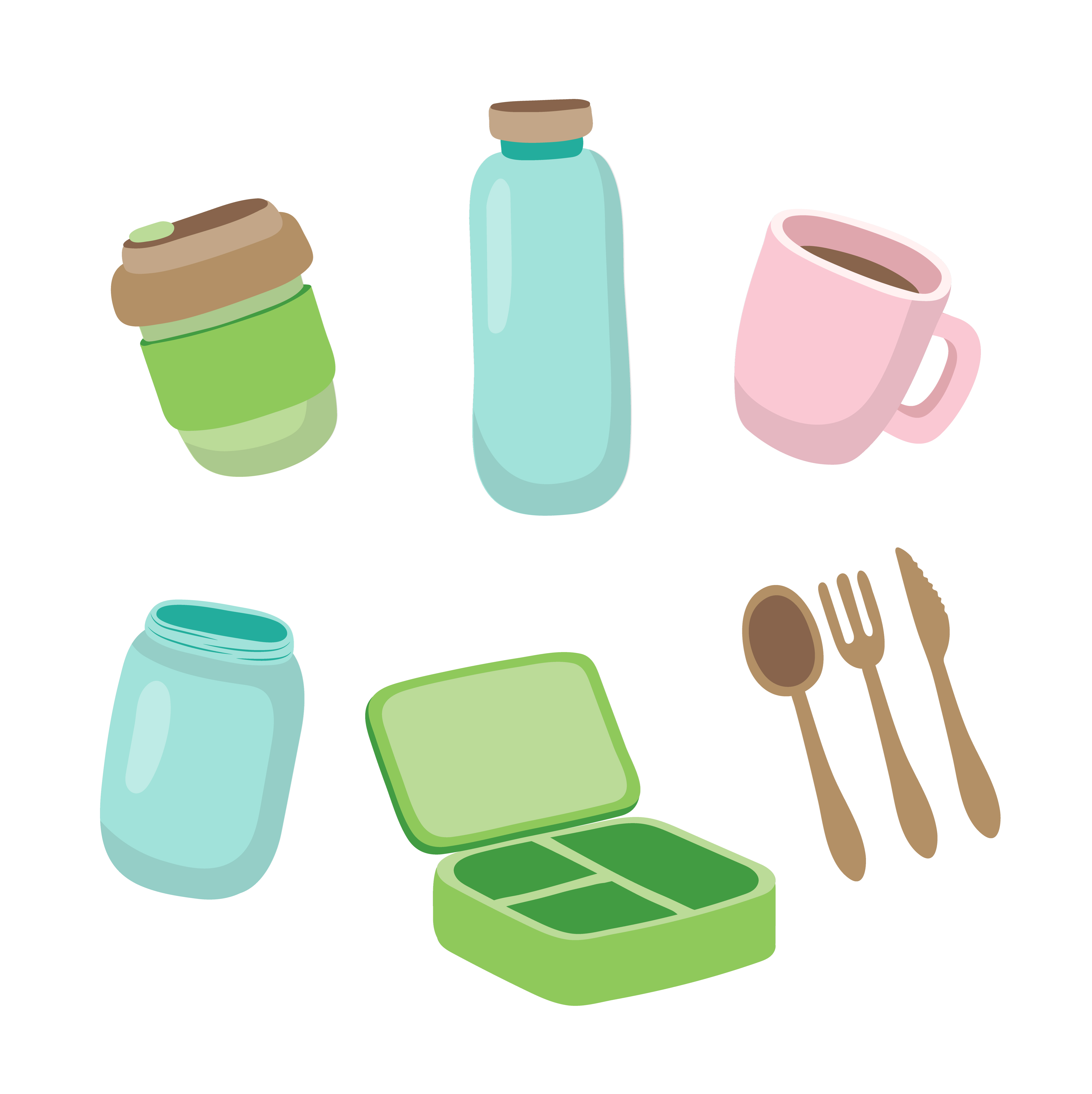 Set of ecological items.