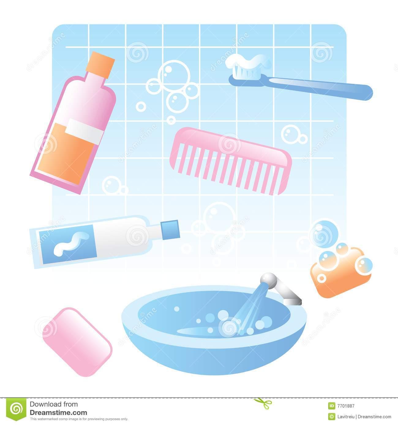 Bathroom Items Clipart.