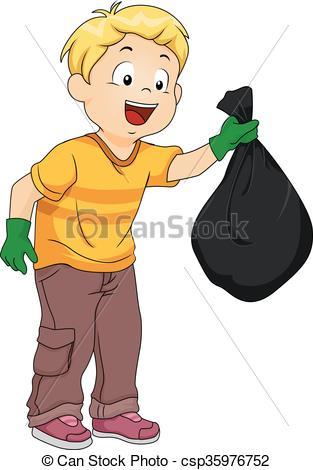 Clipart Vector of Kid Boy Plastic Garbage Bag.