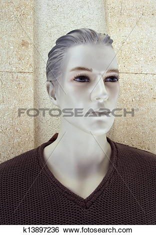 Stock Images of Plastic male mannequin head k13897236.