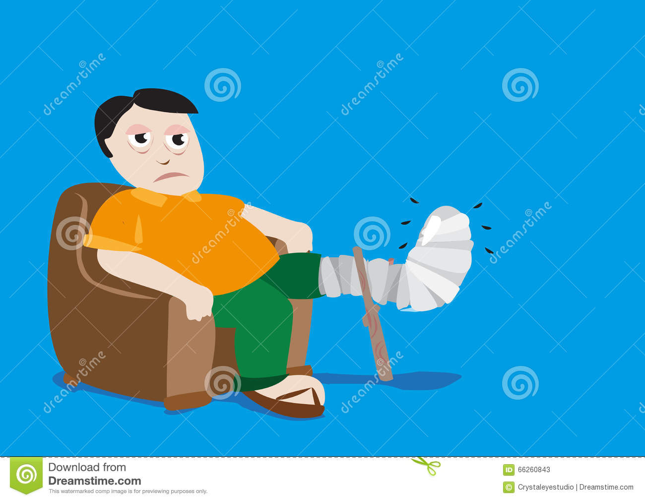 Man With Fractured Leg In A Cast. Editable Clip Art. Stock Vector.
