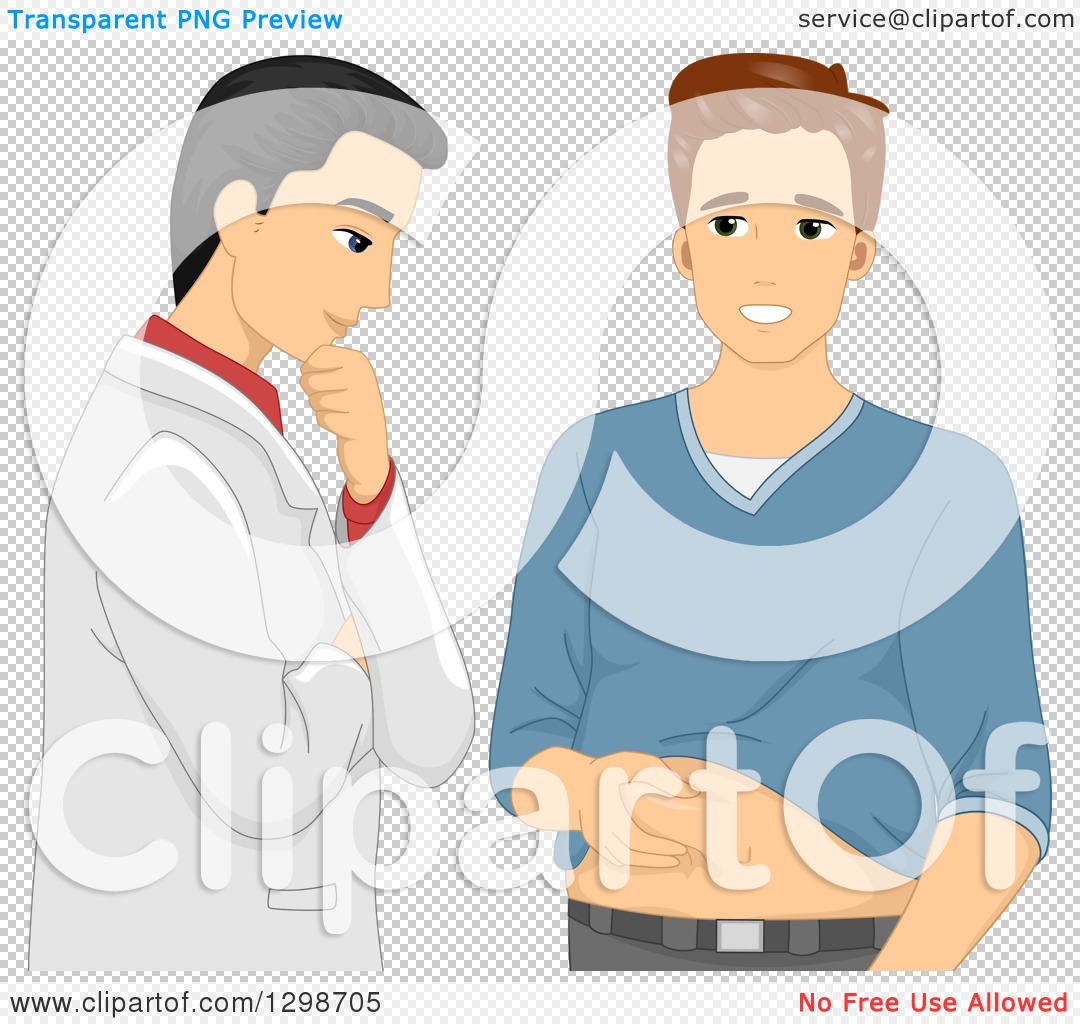 Clipart of a White Male Patient Showing His Belly Fat to His.