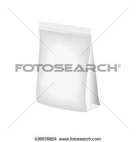 Clipart of Blank stand up pouch foil or plastic packaging with.