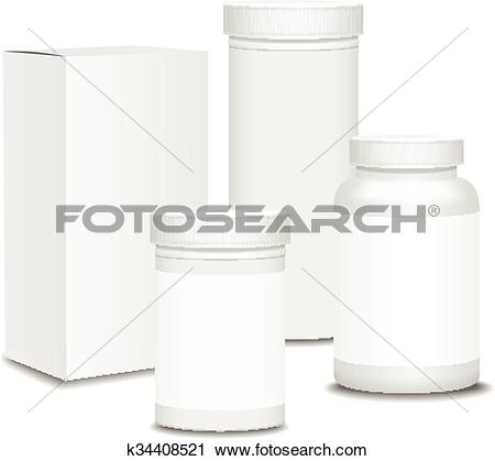 Clipart of Blank set of plastic packaging bottles with box for.