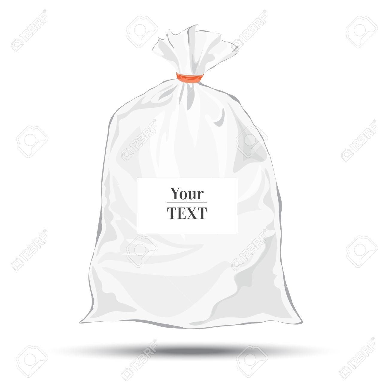 Transparent Bag For Package Design. Plastic Packaging. Vector.