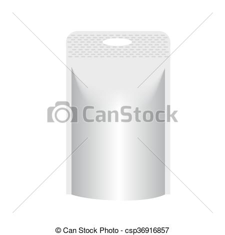 Clipart Vector of Blank stand up pouch foil or plastic packaging.