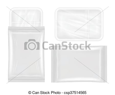 Clip Art Vector of polystyrene and plastic packaging.