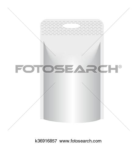Clip Art of Blank stand up pouch foil or plastic packaging with.