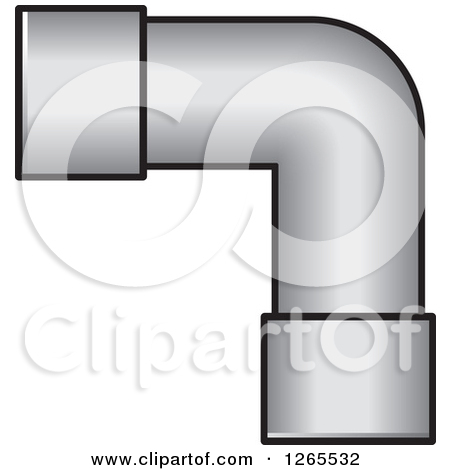 Clipart of a Black and White Pvc Pipe Joint.