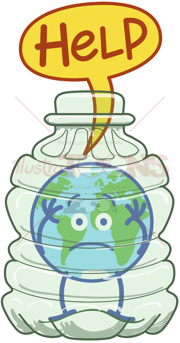 Planet Earth trapped inside a plastic bottle asking for help.