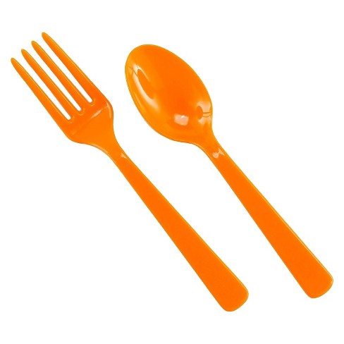 16ct Orange Disposable Fork & Spoon Set.