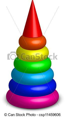 Vector Clipart of Vector illustration of plastic toy pyramid.