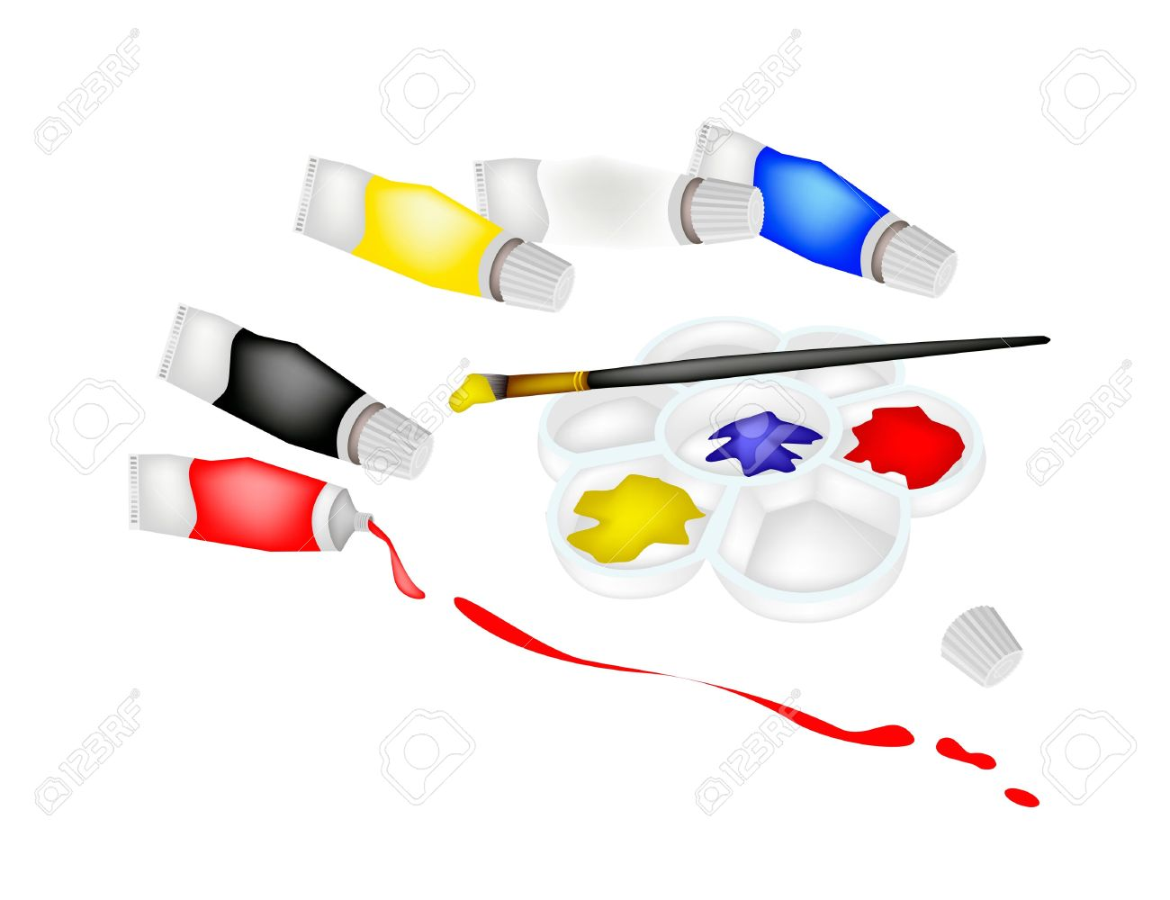 Paint Tubes And Plastic Art Palette With A Craft Paintbrushes.