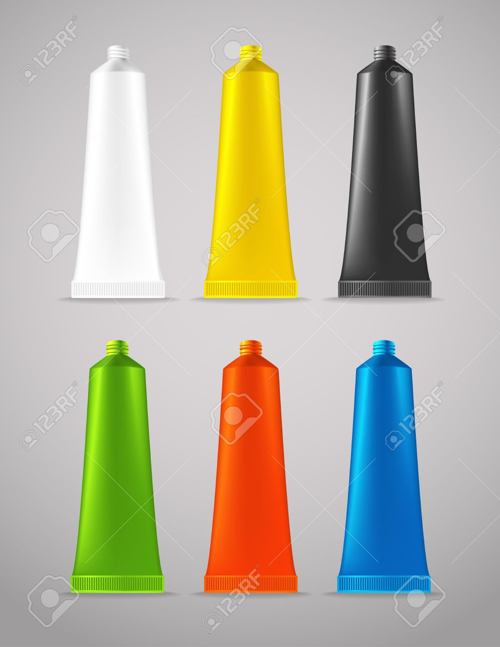 Collection Of Color Plastic Tubes Royalty Free Cliparts, Vectors.