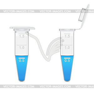 1.8 ml Eppendorf tubes with solution.