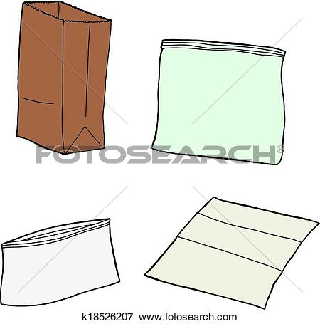 Clipart of Bread in Plastic Wrap k19918572.