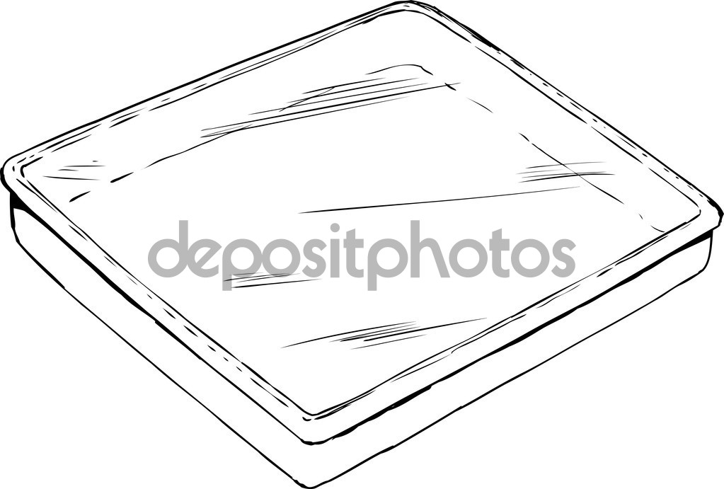 Empty tray with plastic cover outline — Stock Vector.