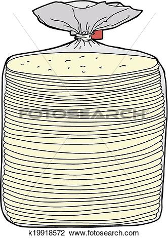 Clipart of Bread in Plastic Wrap k19918572.